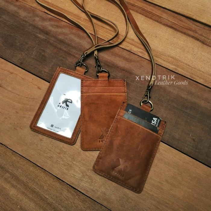 harga Hang tag id name card holder genuine leather kulit asli 3 slot Tokopedia.com