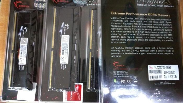 harga Gskill flare x amd ryzen ddr4 16gb(2x8gb) pc25600-f4-3200c14d-16gfx Tokopedia.com