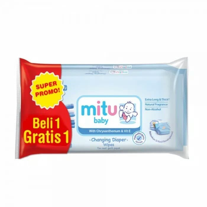 MITU Baby Wipes 50 /MITU Tisu Basah / Tisu Ganti Popok - Biru