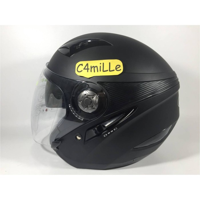 HELM MDS ZARRA SOLID BLACK DOP DOUBLE VISOR HALF FACE