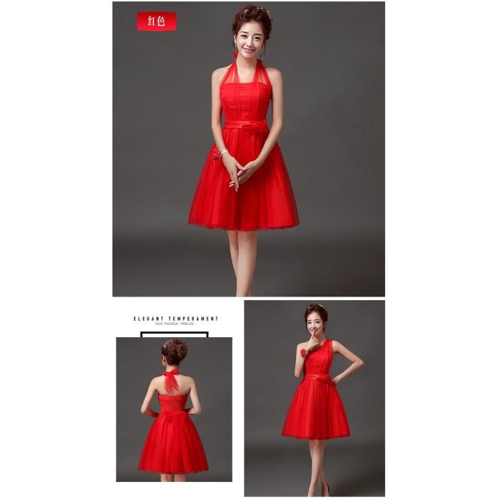 Jual Imlek Sd083d Gaun Pesta Wanita Pendek Freestyle Warna Merah