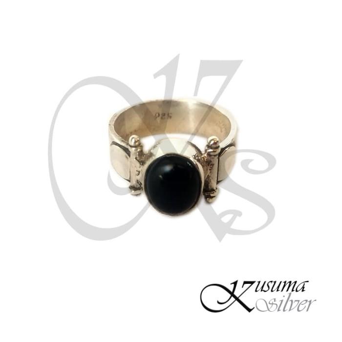 Jual Cincin Ring Perak Silver Bali Batu Hitam Motif Kuno Klasik