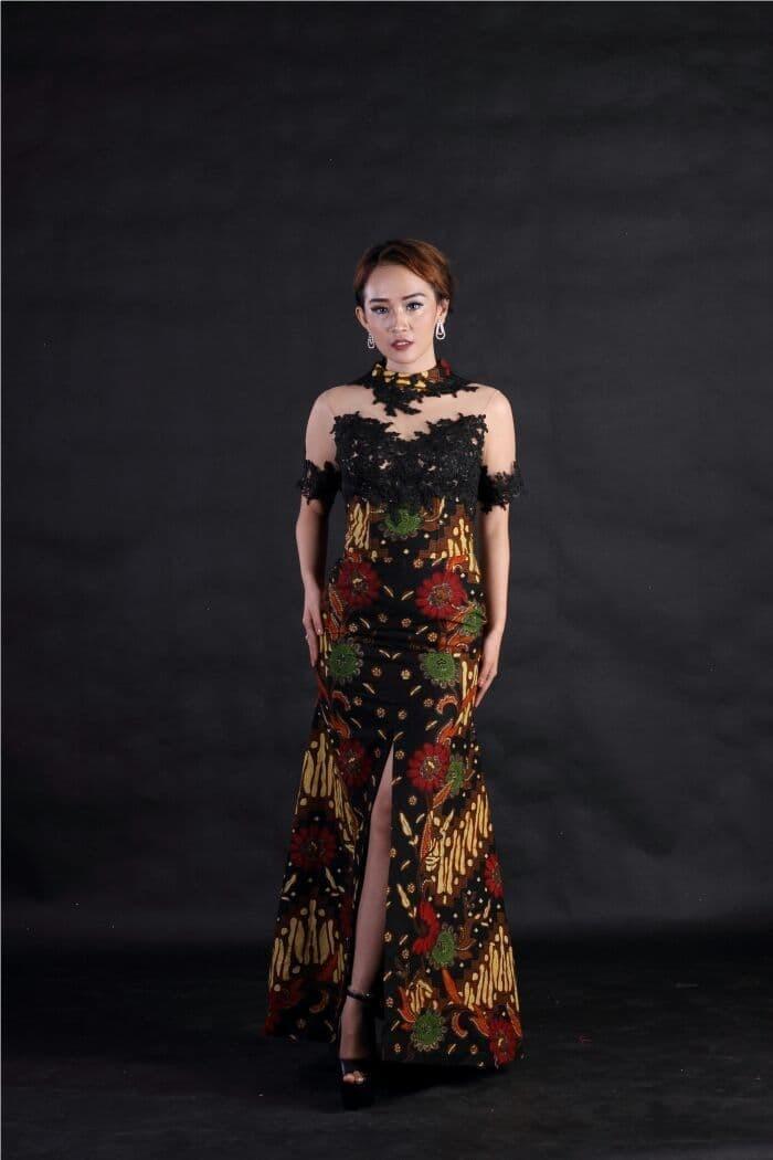 Jual Baju Pesta Wanita Batik Katun Kombinasi Brokat Hitam Modern Longdress Kota Medan Omny Tokopedia