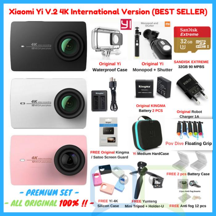 Paket Xiaomi Yi 2 II 4K PREMIUM Set Lengkap Action Camera ORIGINAL - Putih