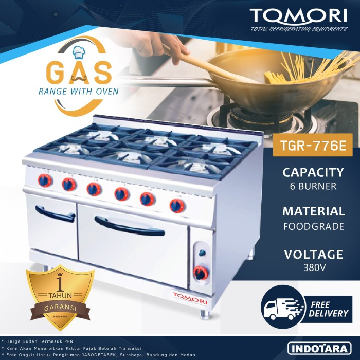 harga Burner gas range with oven tomori tgr-776e - gas kwali range Tokopedia.com