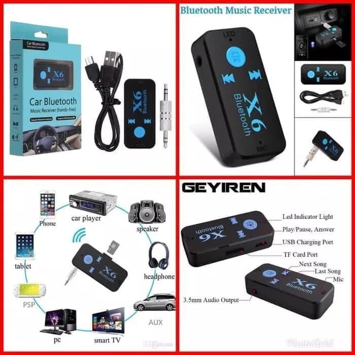 Bluetooth Receiver Audio Music wireles car X6 multimedia Slot TF Card - Hitam