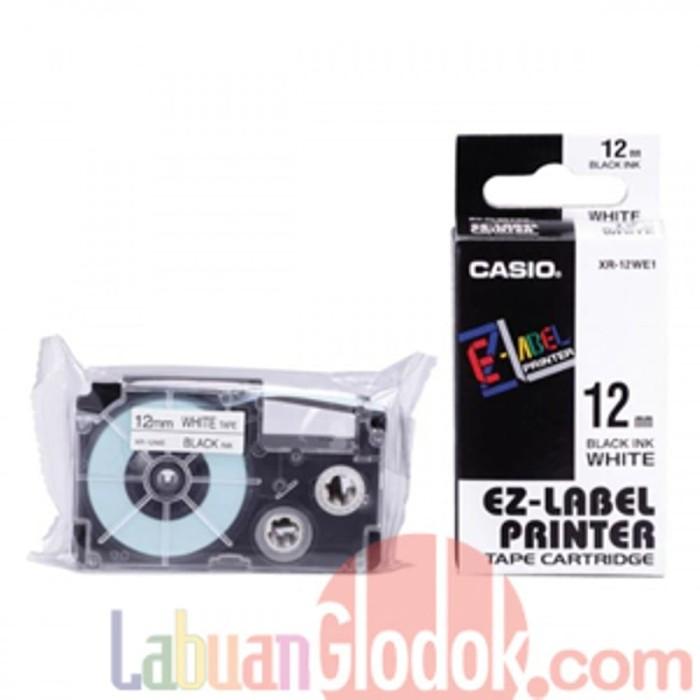 Casio Label XR-12WE1 12mm Black On White Promo gede