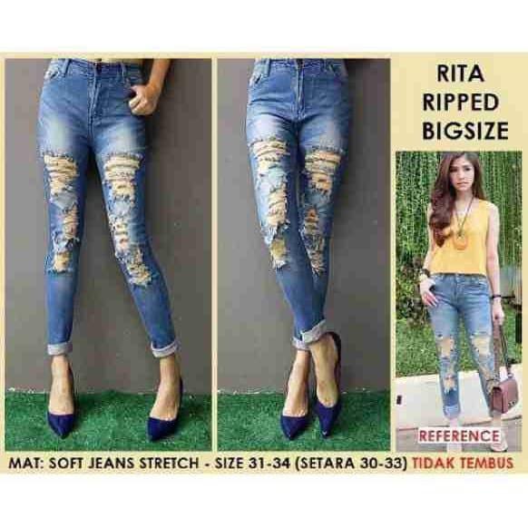 Celana Jeans Wanita Jeans Ripped Jeans Jumbo Jeans Skinny Rita