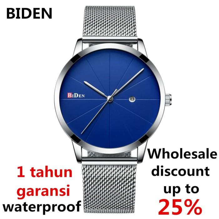 jam tangan Biden pria wanita fahison bisnis sport unisex jam quartz - Biru 8fb0ab9c20