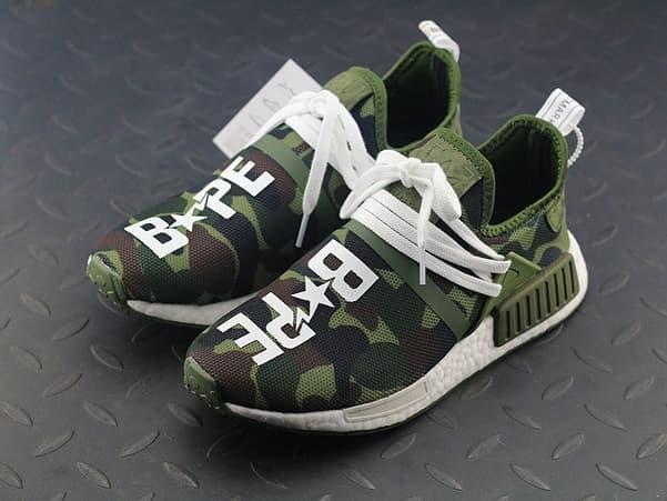 d21b9b9fcdc3e Jual Pharrell Williams x Adidas NMD HU BAPE Camo Green - GraciaShops ...