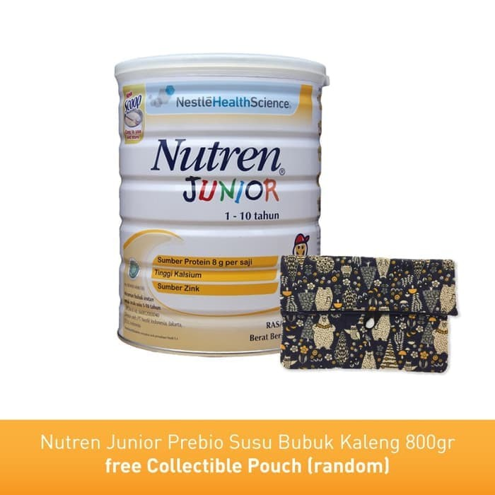 Nutren Junior Prebio Susu Bubuk 800gr free Collectible Pouch (random)