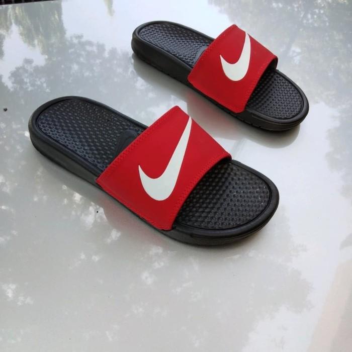 16b076186dd1 Jual Sandal Nike Benassi Swoosh Black Red Checklist White Original ...