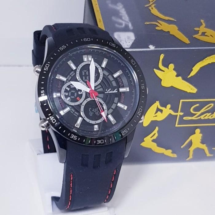 jam tangan pria original lasebo dual time rubber / jam tangan pria -