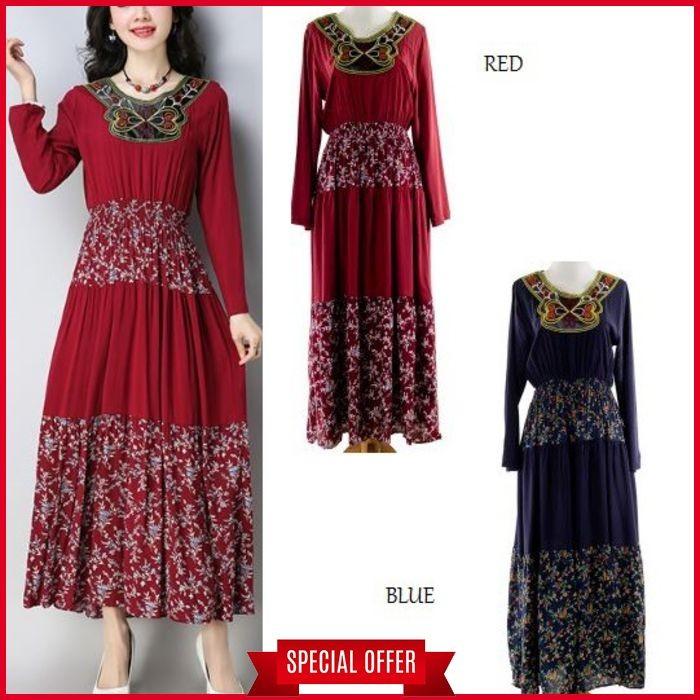 Bordir Flower Flare Maxi Dress Lengan PAnjang muslim Biru Merah