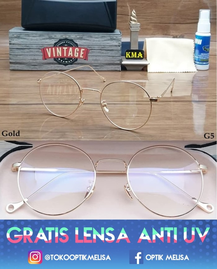 Frame Kacamata Minus Wanita Korea Vintage Bulat Metal Import GT655