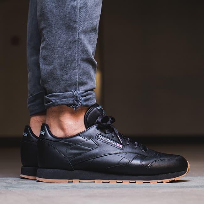 Jual Sepatu reebok cl leather intense black/gum classic