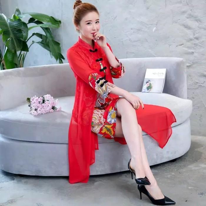 Jual 2019 Cheongsam Wanita Model Korea Midi Dress Import Kota