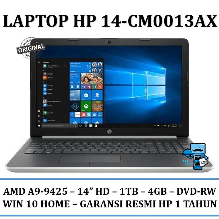 harga Laptop hp 14-cm0013ax silver - amd a9-9425/4gb/1tb/radeon 520 2g/win10 Tokopedia.com