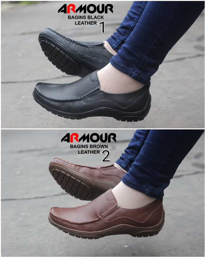 harga Sepatu armour bagins original kulit asli slip on pria formal casual Tokopedia.com