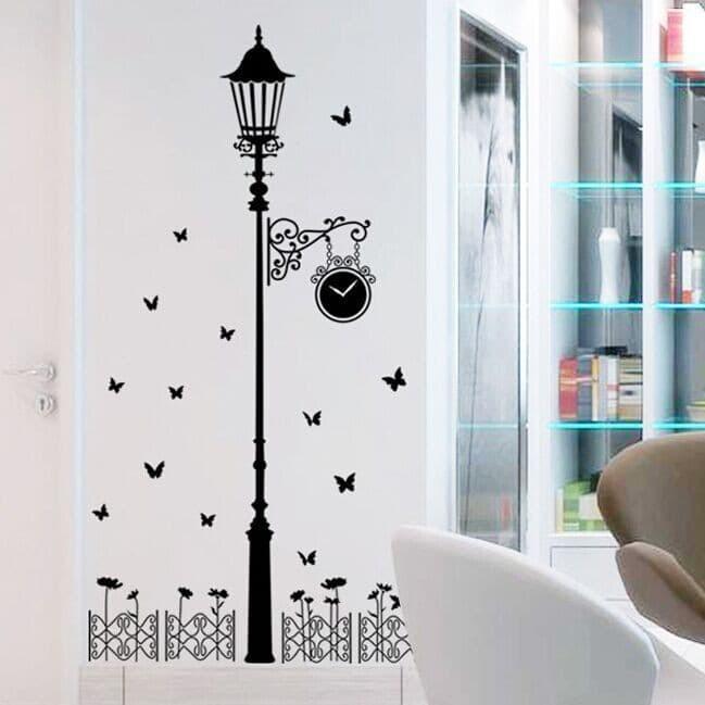 jual wall sticker / stiker dinding 60x90 lampu taman hitam jm7177