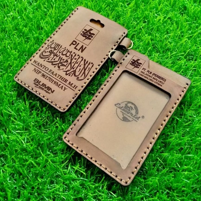 harga Id card holder kulit costum nama & intansi/perusahaan 2 slot card Tokopedia.com