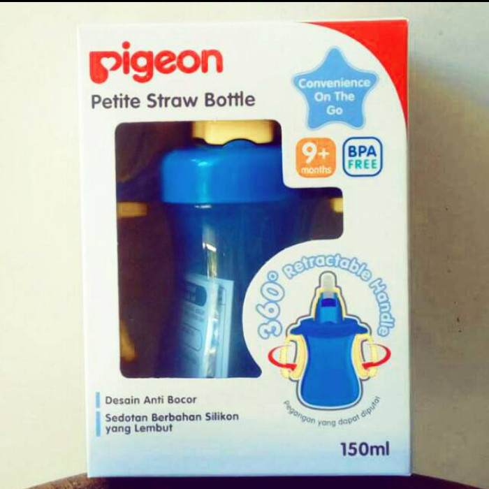 Pigeon Petite Straw Bottle 150ml botol minum anak dengan sedotan - Biru