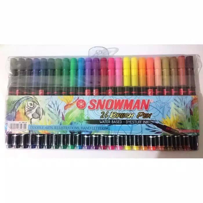 Jual Spidol Snowman Brush Pen Kaligrafi 24 Warna Water Base Dki