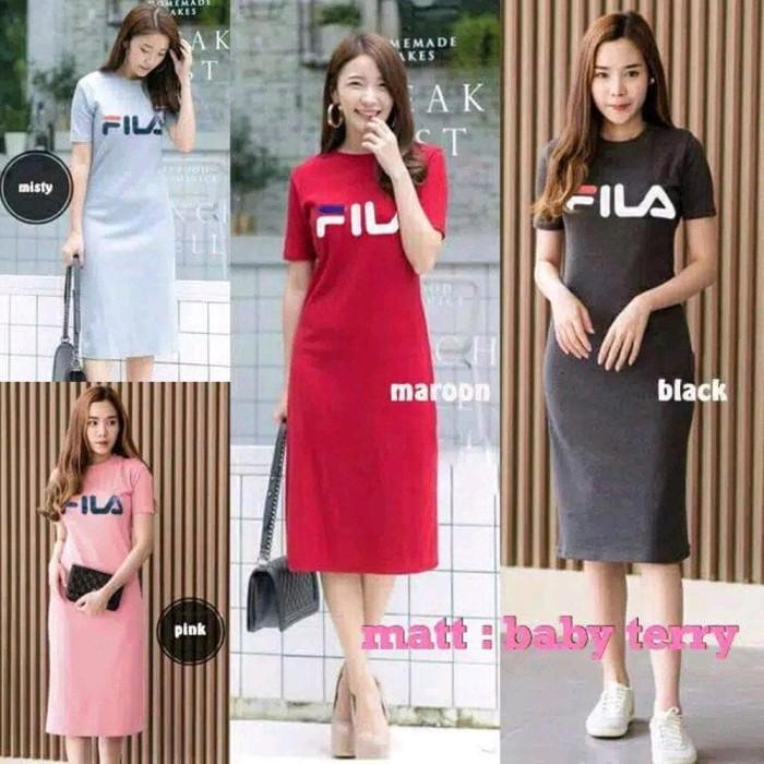 Jual Terbaru Dress Fashion Wanita Fila Baju Dress Wanita Kaos