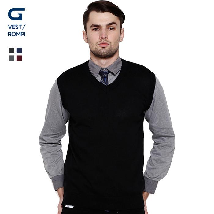 harga Sweater rajut pria gomuda - vest/rompi big size - hitam xxxl Tokopedia.