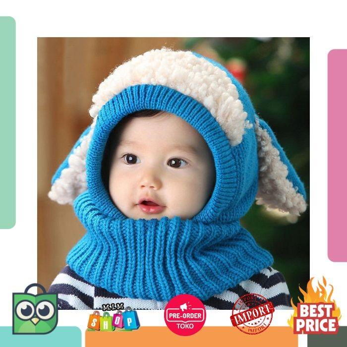 Musim Dingin Bayi Topi dan Syal Bersama dengan Anjing Crochet