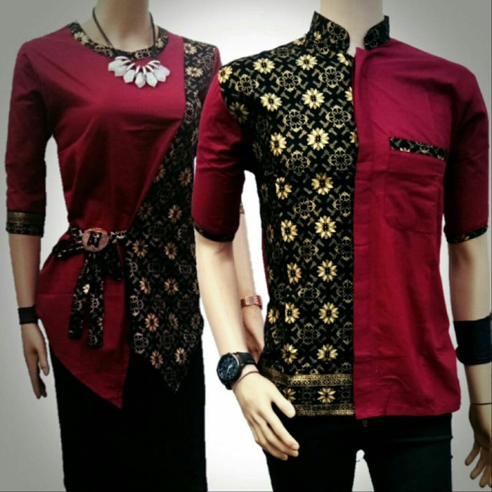 Jual Baju Couple Batik Atasan Maroon Prada Sarimbit Batik Kombinasi Kota Pekalongan Batik Pondokan Colletion Tokopedia