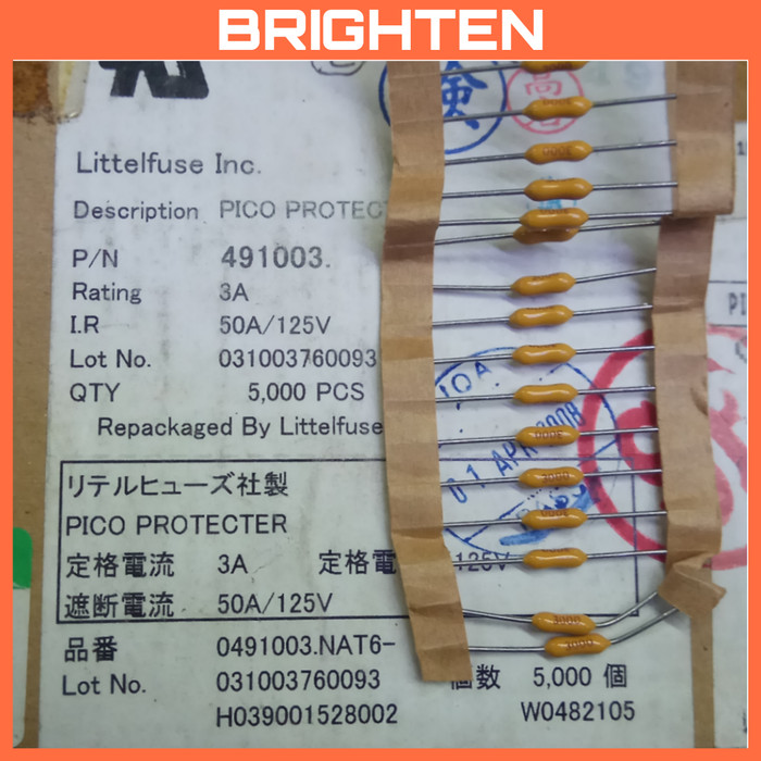 100Pcs Littelfuse LF Very Fast  Acting Pico Axial Fuse 3A 125V 0491003