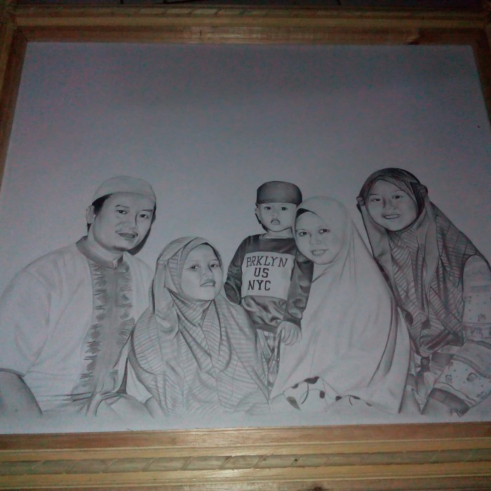 Jual Lukisan Sketsa Wajah Hitam Putih 11r 28x35cm 4 Wajahfoto