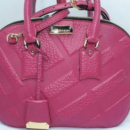 1a50662b77f Jual BURBERRY Check Embossed Leather Small Orchard Bag Purple ...