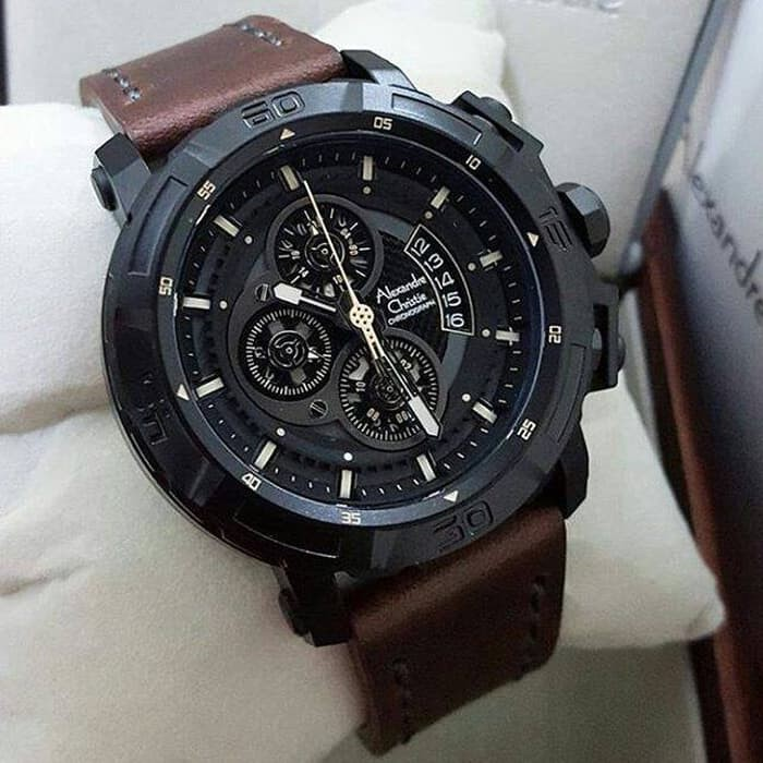 JAM TANGAN ALEXANDRE CHRISTIE AC- 6439 LEATHER FULL BLACK ORIGINAL