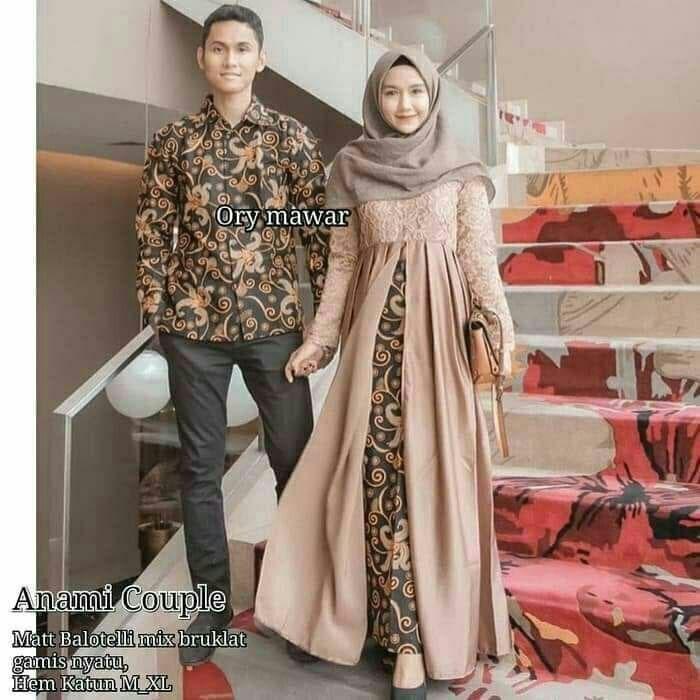 Jual Batik Couple Gamis Kondangan Batik Pesta Remaja Kekinian Km25