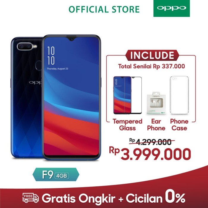 harga Oppo f9 smartphone 4gb/64gb (cicil tanpa kartu kredit garansi resmi) - twilight blue Tokopedia.com