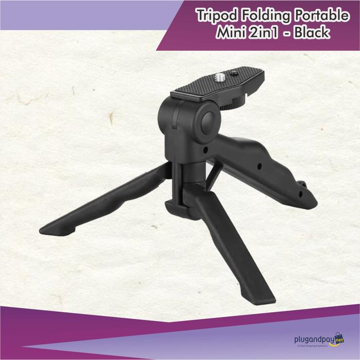 Foto Produk Tripod Folding Portable Mini 2in1 - Black dari plugandpay