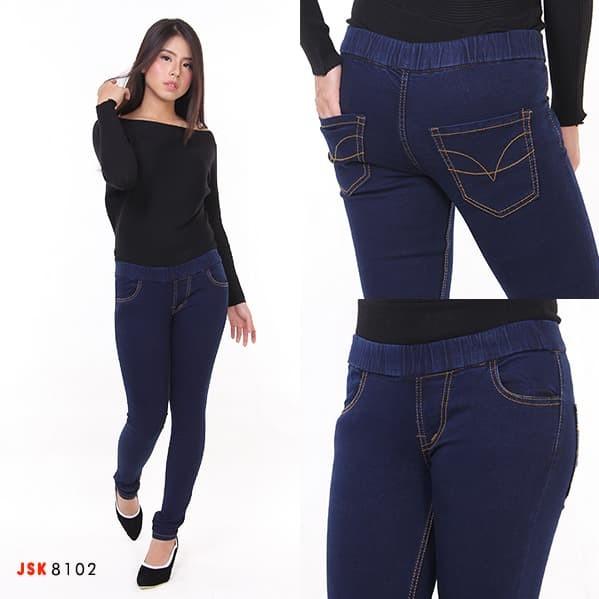 Jual Celana Panjang Legging Jeans Wanita Pinggang Karet Bigsize JSK JEANS - Navy, 34 - Doverin Jeans   Tokopedia