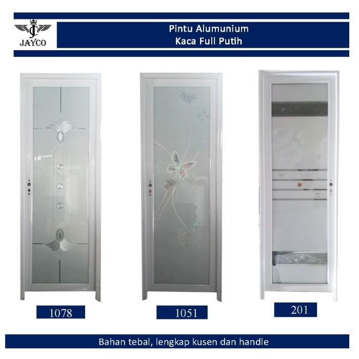 Foto Produk Pintu Alumunium Jayco Putih Tebal Kaca Full + Handle / Gagang + Kusen dari serisaito