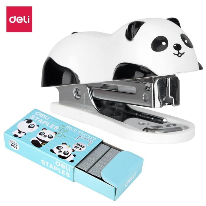Deli E0453 Hekter-Panda Mini Stapler #10 w/staples Black/white