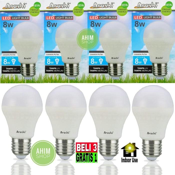 4pcs ARASHI Lampu LED Bulb 8 Watt 8W 8 W Putih Model Mirip Philips