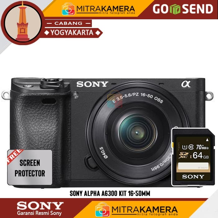 Sony Alpha A6300 Kit 16-50mm - Hitam