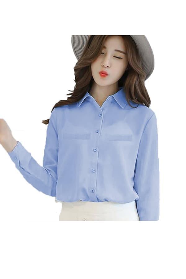 fashion Korean Style Plain Shirt Long SLeeve - Ummi - Putih - Navy