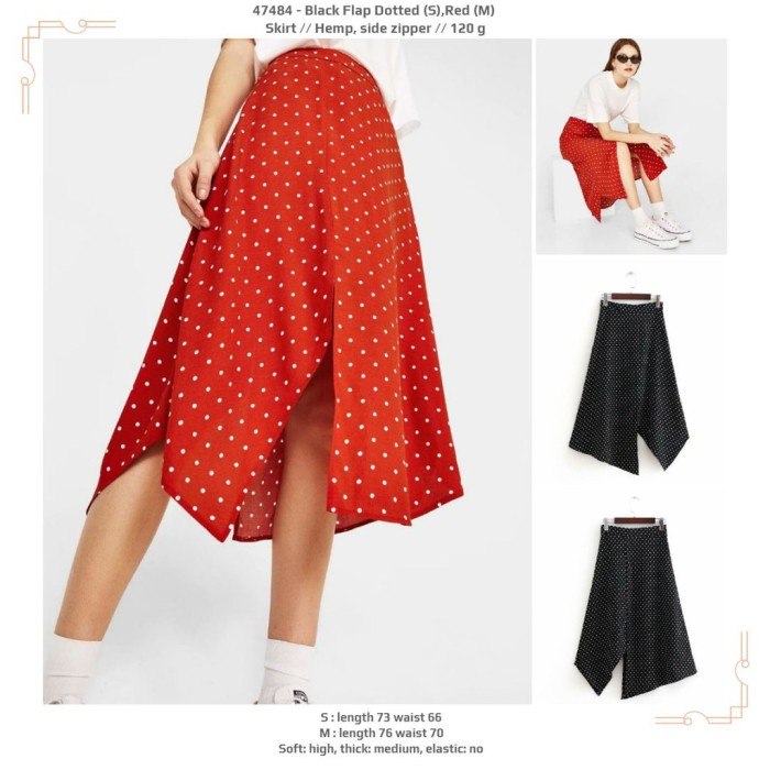 Red,Black Flap Dotted (S,M,L) Skirt -47484