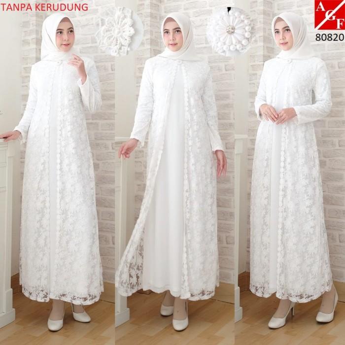 Jual SALE Baju Gamis Wanita Brukat Syari Putih Lebaran Umroh Haji ... b11afa64b5