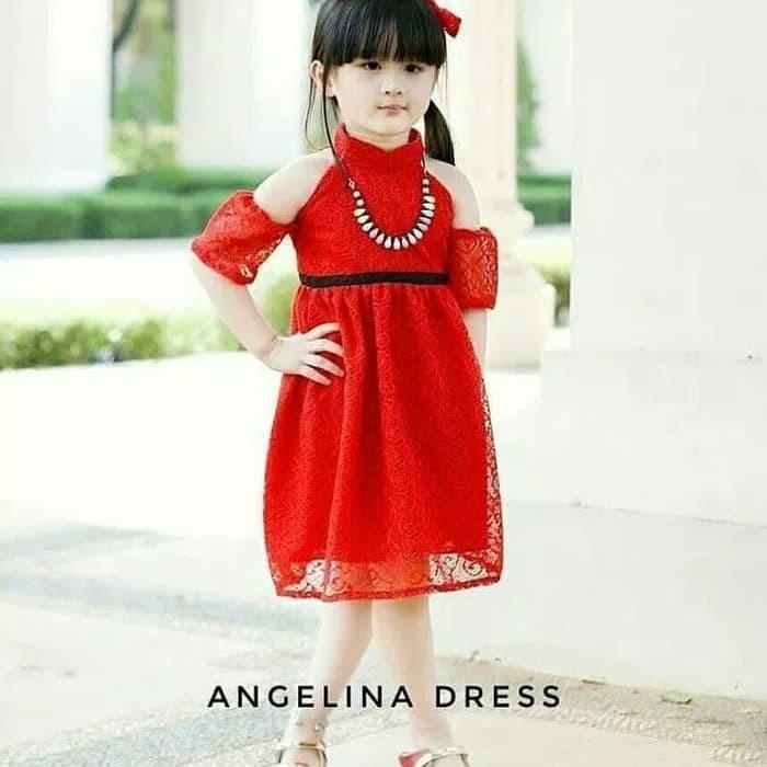 eb04f14d67d Jual dress sabrina brukat gaun baju anak anak cewek perempuan pesta ...