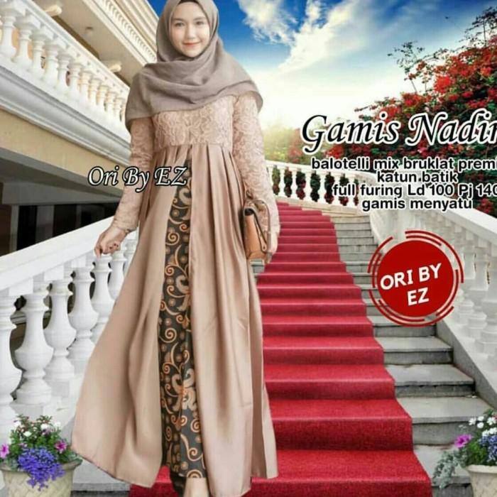 harga Gamis batik brokat modern maxi dress broklat exclusive gamis brokat Tokopedia.com