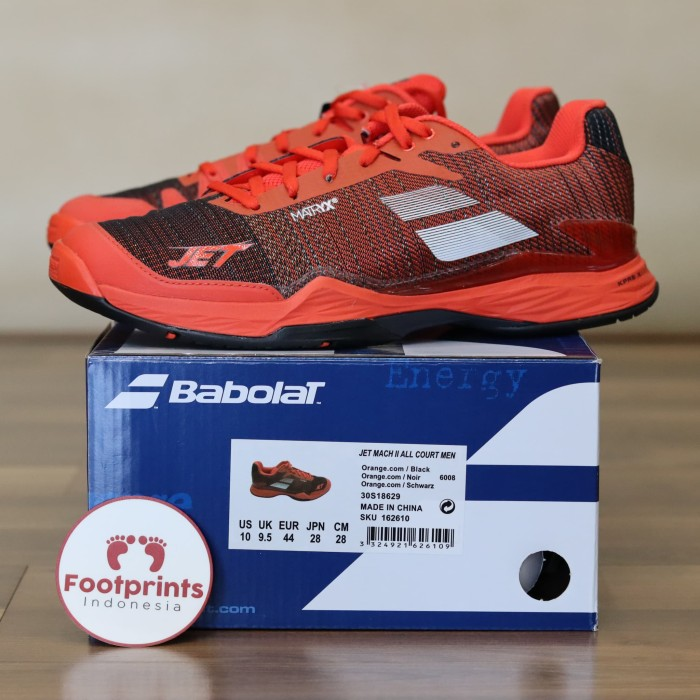 new arrival 8253e aa160 Sepatu Tenis Babolat Jet Mach II Orange Black Red Original Tennis Shoe