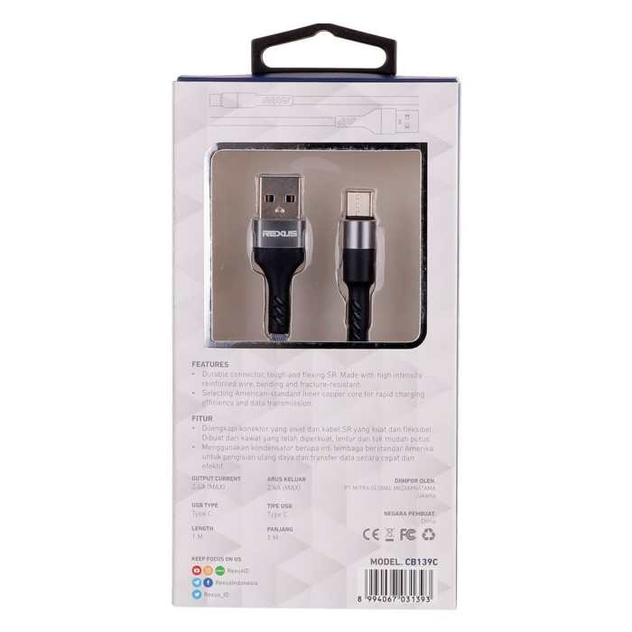 Rexus usb cable data cb139c type c 1m fast charging 2.4a - abu-abu muda